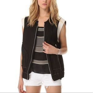IRO Konor Linen Leather Trim Vest, Sz M